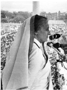 Indira Gandhi addressing an election rally at Kanchipuram in Tamil Nadu in March 1977.