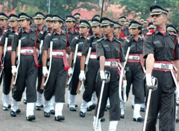 A Passing Out Parade of cadets, many of them women, at the Officers Training Academy in Chennai in 2007.