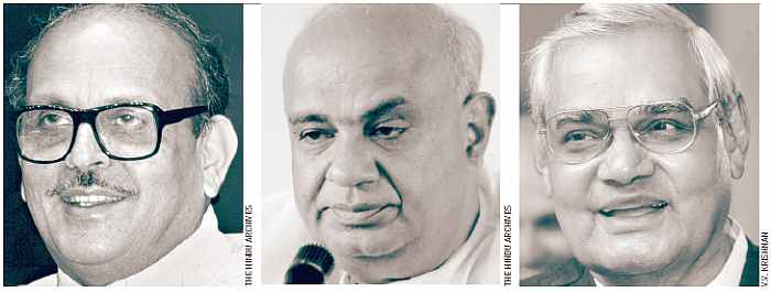 Here (from left) V.P. Singh, H.D. Deve Gowda and Atal Bihari Vajpayee.