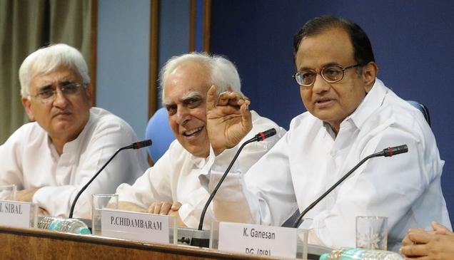 Union Ministers and the members of Lokpal Bill drafting committee P. Chidambaram, Kapil Sibal and Salman Khurshid address a press conference in New Delhi recently.